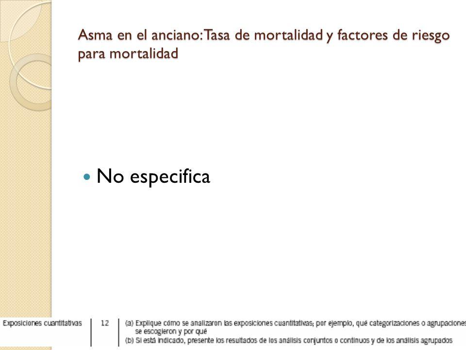 Asma en el anciano: Tasa de mortalidad y factores de riesgo para mortalidad No especifica