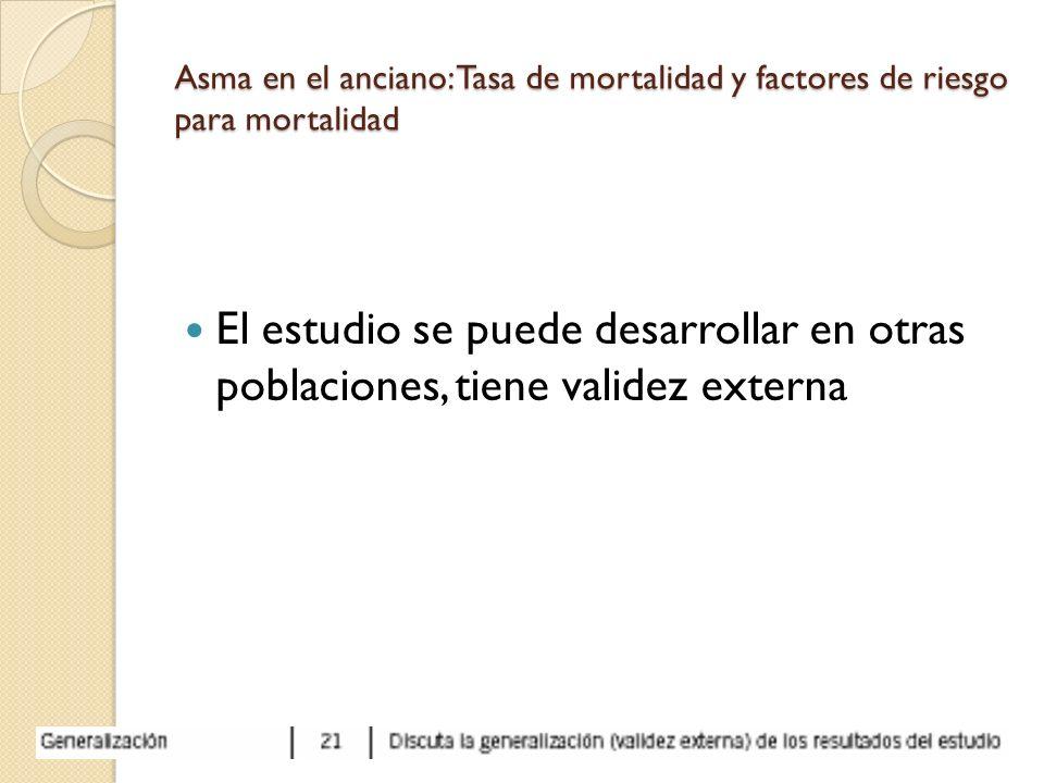Asma en el anciano: Tasa de mortalidad y factores de riesgo para mortalidad El estudio se puede desarrollar en otras poblaciones, tiene validez extern