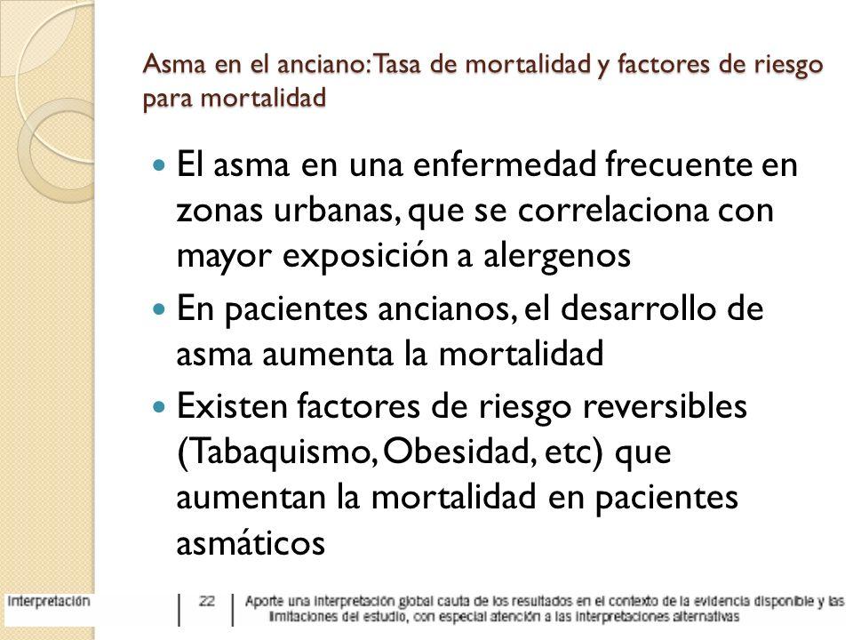 Asma en el anciano: Tasa de mortalidad y factores de riesgo para mortalidad El asma en una enfermedad frecuente en zonas urbanas, que se correlaciona