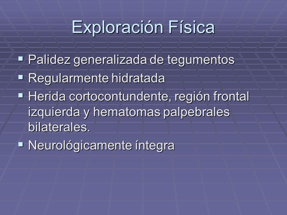Exploración Física Palidez generalizada de tegumentos Palidez generalizada de tegumentos Regularmente hidratada Regularmente hidratada Herida cortocon