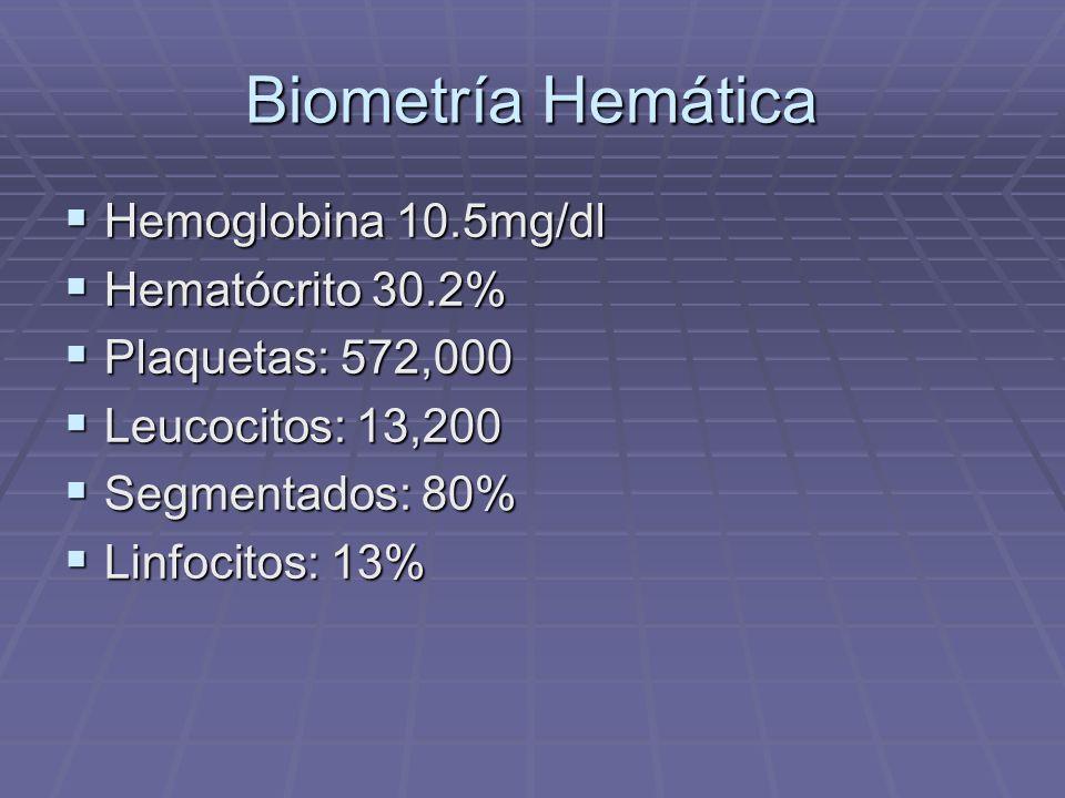 Biometría Hemática Hemoglobina 10.5mg/dl Hemoglobina 10.5mg/dl Hematócrito 30.2% Hematócrito 30.2% Plaquetas: 572,000 Plaquetas: 572,000 Leucocitos: 1