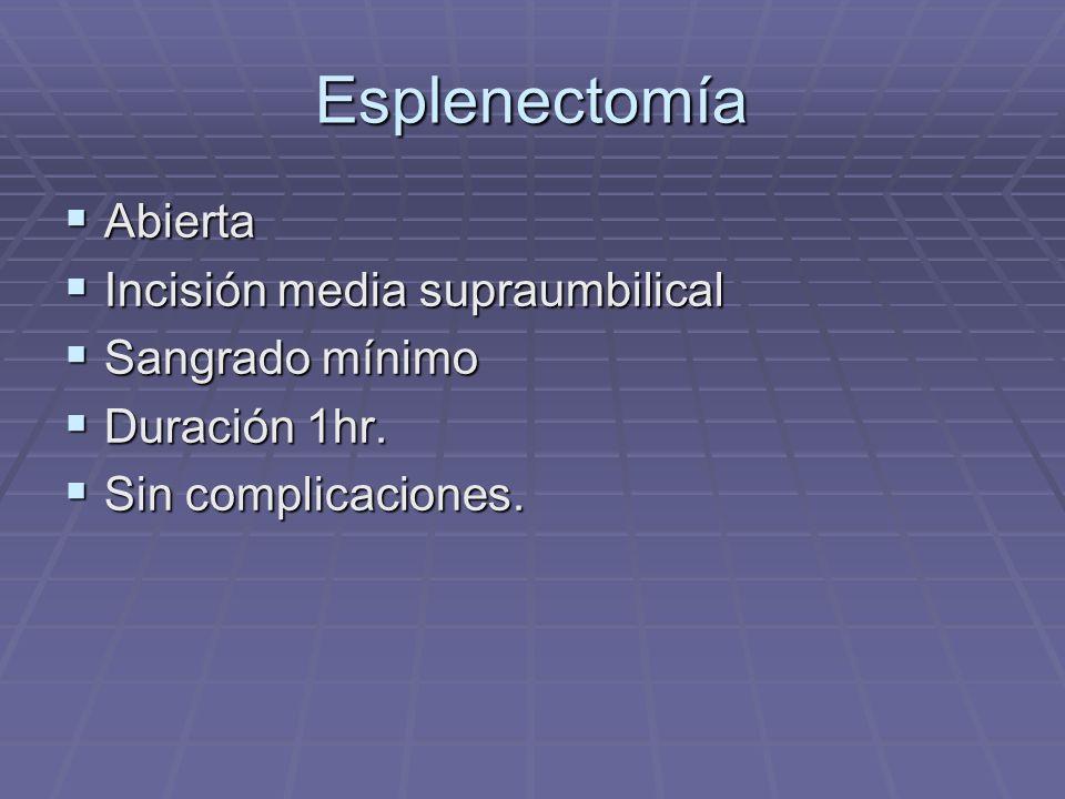 Esplenectomía Abierta Abierta Incisión media supraumbilical Incisión media supraumbilical Sangrado mínimo Sangrado mínimo Duración 1hr. Duración 1hr.