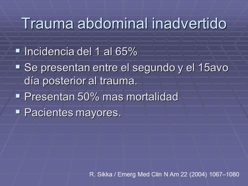 Trauma abdominal inadvertido Incidencia del 1 al 65% Incidencia del 1 al 65% Se presentan entre el segundo y el 15avo día posterior al trauma. Se pres