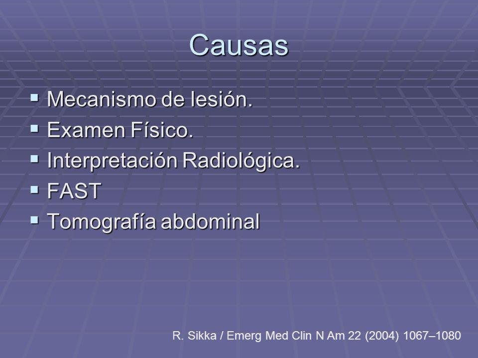 Causas Mecanismo de lesión. Mecanismo de lesión. Examen Físico. Examen Físico. Interpretación Radiológica. Interpretación Radiológica. FAST FAST Tomog