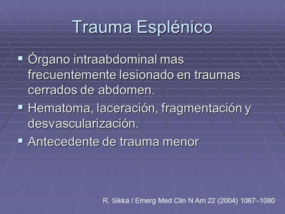 Trauma Esplénico Órgano intraabdominal mas frecuentemente lesionado en traumas cerrados de abdomen. Órgano intraabdominal mas frecuentemente lesionado