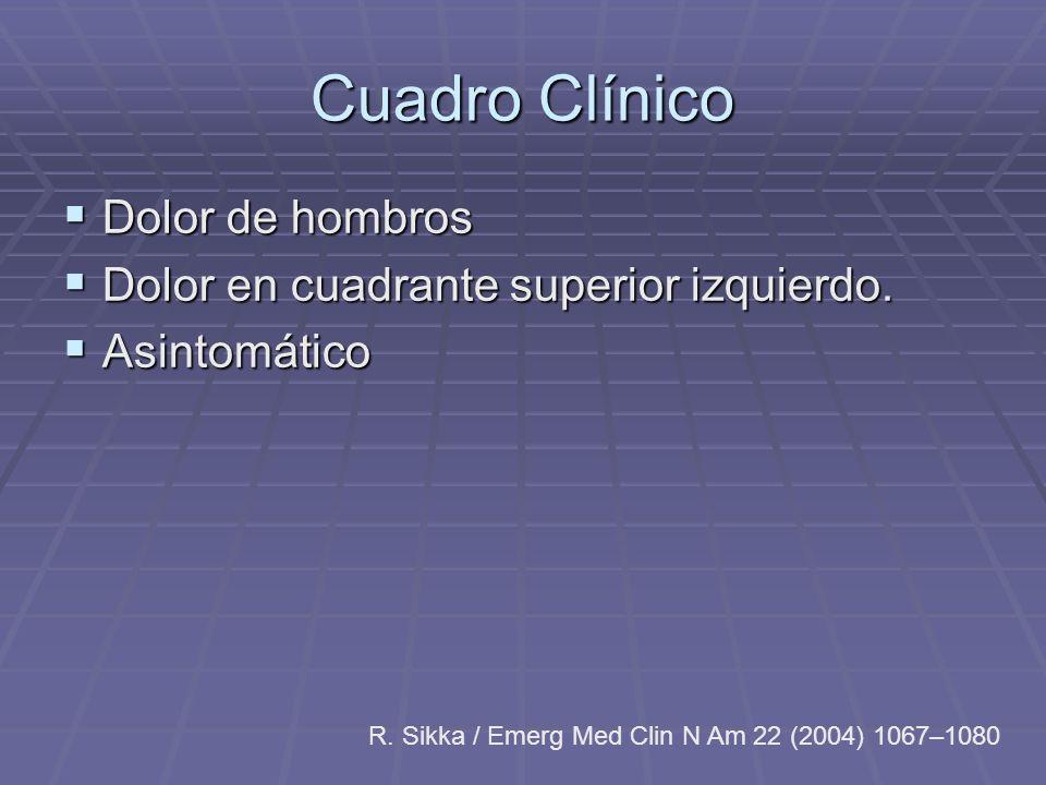 Cuadro Clínico Dolor de hombros Dolor de hombros Dolor en cuadrante superior izquierdo. Dolor en cuadrante superior izquierdo. Asintomático Asintomáti