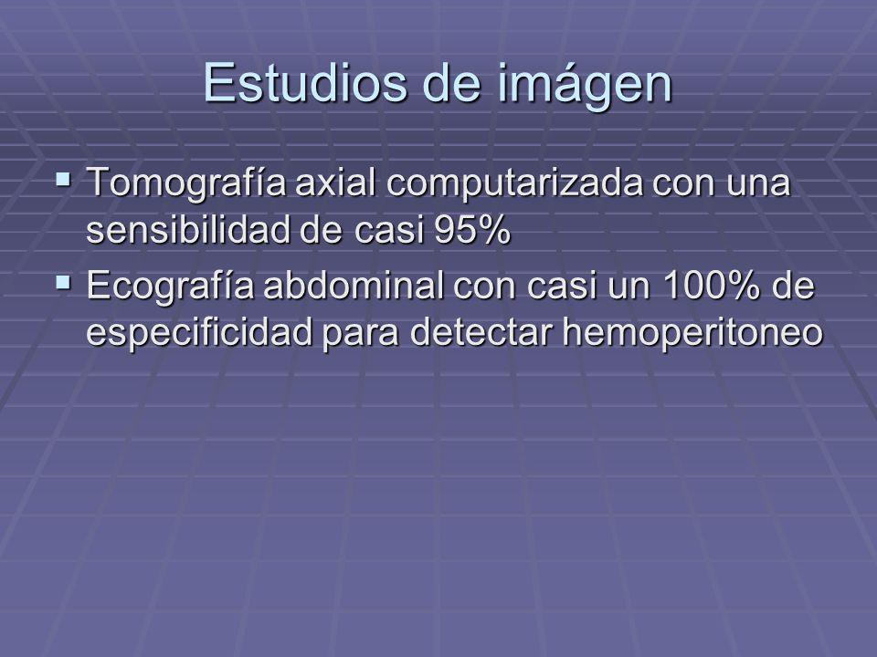 Estudios de imágen Tomografía axial computarizada con una sensibilidad de casi 95% Tomografía axial computarizada con una sensibilidad de casi 95% Eco