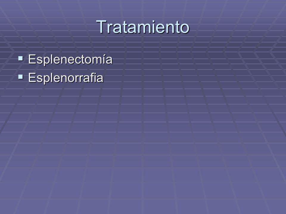 Tratamiento Esplenectomía Esplenectomía Esplenorrafia Esplenorrafia