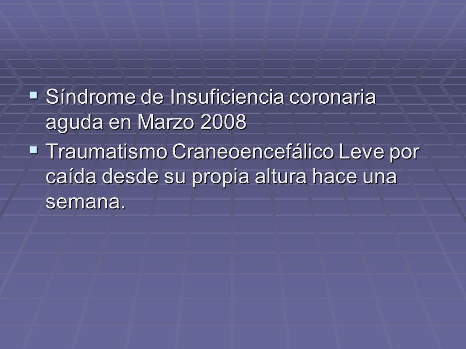 Síndrome de Insuficiencia coronaria aguda en Marzo 2008 Síndrome de Insuficiencia coronaria aguda en Marzo 2008 Traumatismo Craneoencefálico Leve por