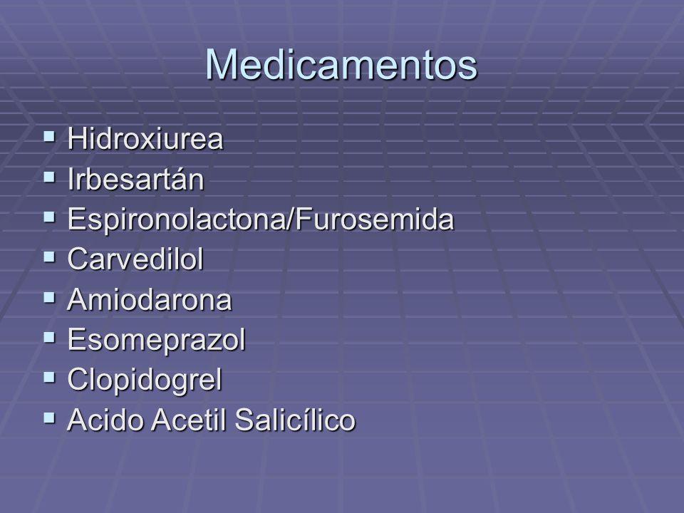 Medicamentos Hidroxiurea Hidroxiurea Irbesartán Irbesartán Espironolactona/Furosemida Espironolactona/Furosemida Carvedilol Carvedilol Amiodarona Amio