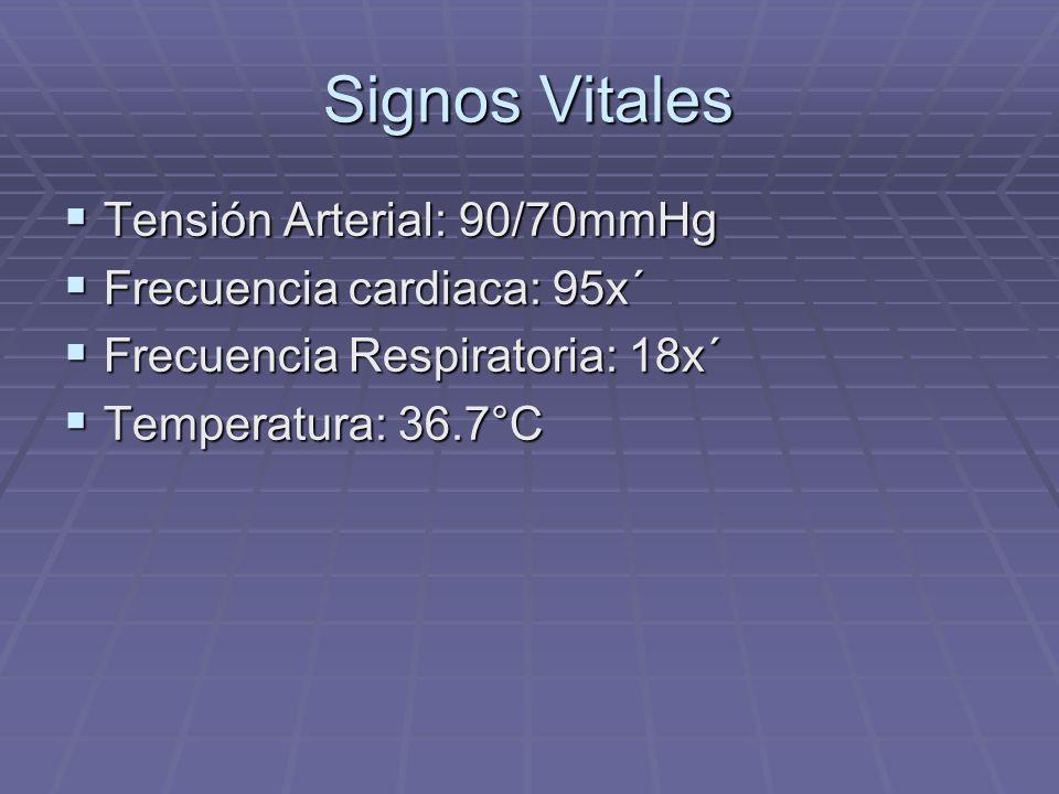 Signos Vitales Tensión Arterial: 90/70mmHg Tensión Arterial: 90/70mmHg Frecuencia cardiaca: 95x´ Frecuencia cardiaca: 95x´ Frecuencia Respiratoria: 18