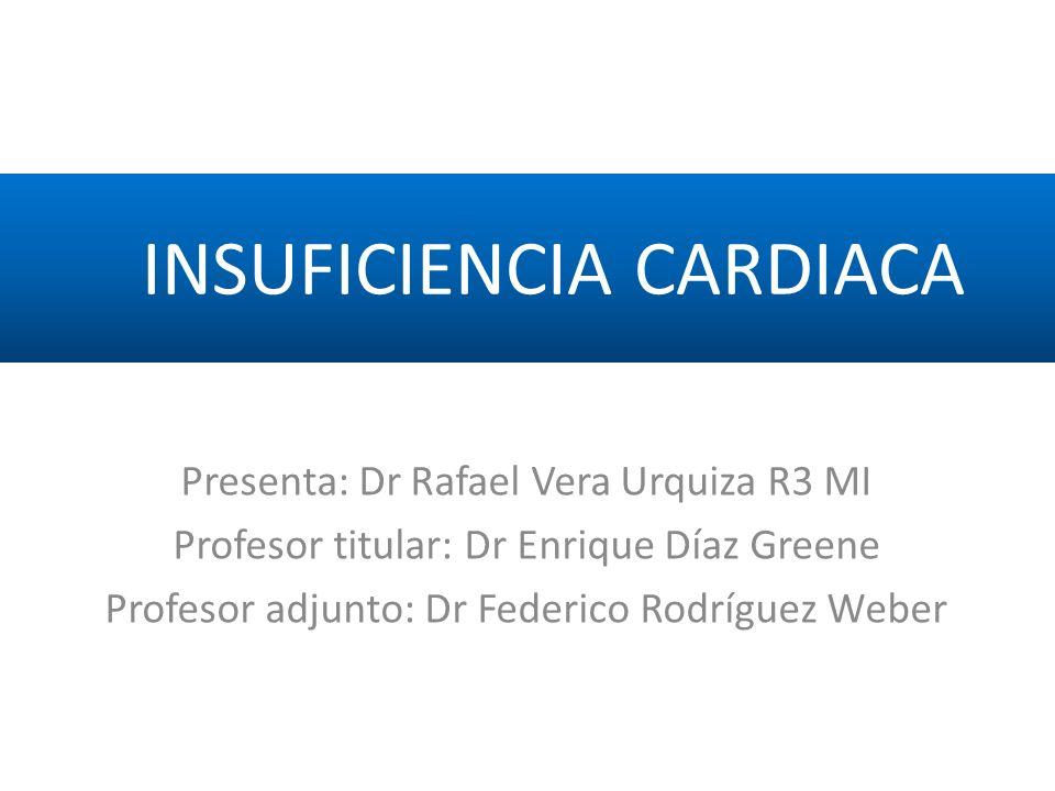 Presenta: Dr Rafael Vera Urquiza R3 MI Profesor titular: Dr Enrique Díaz Greene Profesor adjunto: Dr Federico Rodríguez Weber INSUFICIENCIA CARDIACA