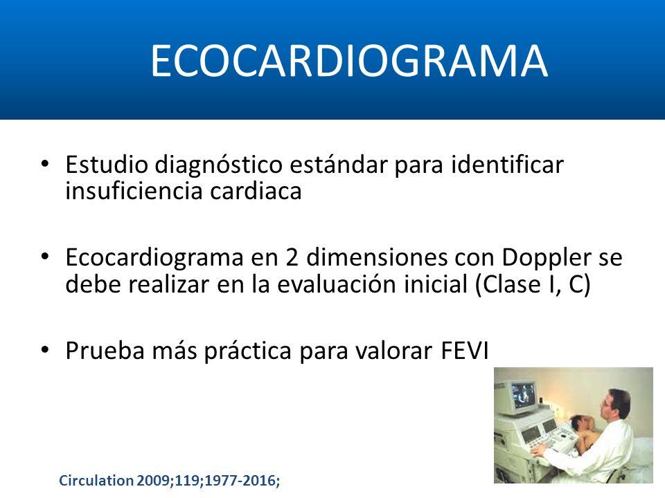 ECOCARDIOGRAMA Estudio diagnóstico estándar para identificar insuficiencia cardiaca Ecocardiograma en 2 dimensiones con Doppler se debe realizar en la
