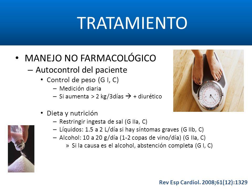 TRATAMIENTO Rev Esp Cardiol. 2008;61(12):1329 MANEJO NO FARMACOLÓGICO – Autocontrol del paciente Control de peso (G I, C) – Medición diaria – Si aumen