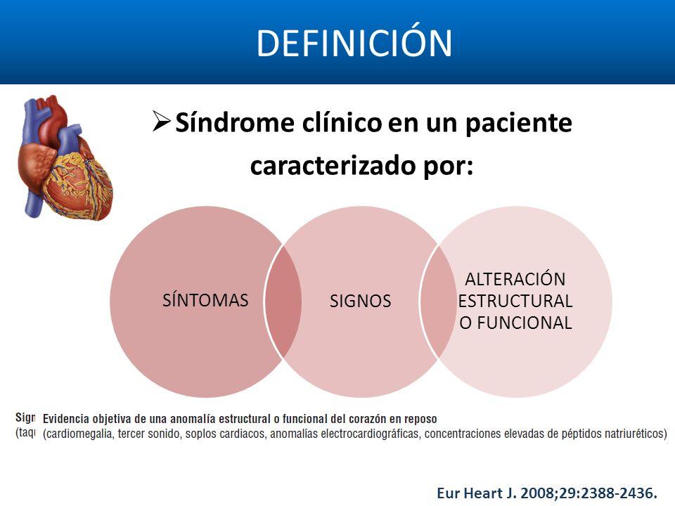 DEFINICIÓN SÍNTOMASSIGNOS ALTERACIÓN ESTRUCTURAL O FUNCIONAL Síndrome clínico en un paciente caracterizado por: Eur Heart J. 2008;29:2388-2436.