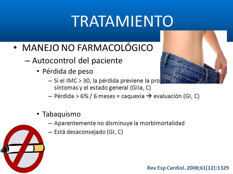 TRATAMIENTO Rev Esp Cardiol. 2008;61(12):1329 MANEJO NO FARMACOLÓGICO – Autocontrol del paciente Pérdida de peso – Si el IMC > 30, la pérdida previene