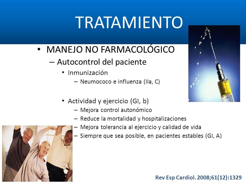 TRATAMIENTO Rev Esp Cardiol. 2008;61(12):1329 MANEJO NO FARMACOLÓGICO – Autocontrol del paciente Inmunización – Neumococo e influenza (IIa, C) Activid