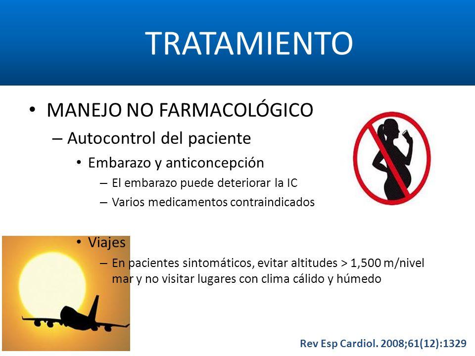 TRATAMIENTO Rev Esp Cardiol. 2008;61(12):1329 MANEJO NO FARMACOLÓGICO – Autocontrol del paciente Embarazo y anticoncepción – El embarazo puede deterio