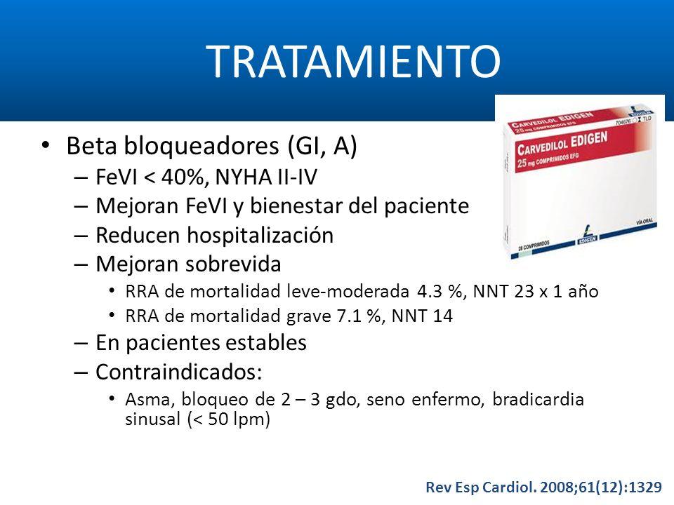 TRATAMIENTO Rev Esp Cardiol. 2008;61(12):1329 Beta bloqueadores (GI, A) – FeVI < 40%, NYHA II-IV – Mejoran FeVI y bienestar del paciente – Reducen hos