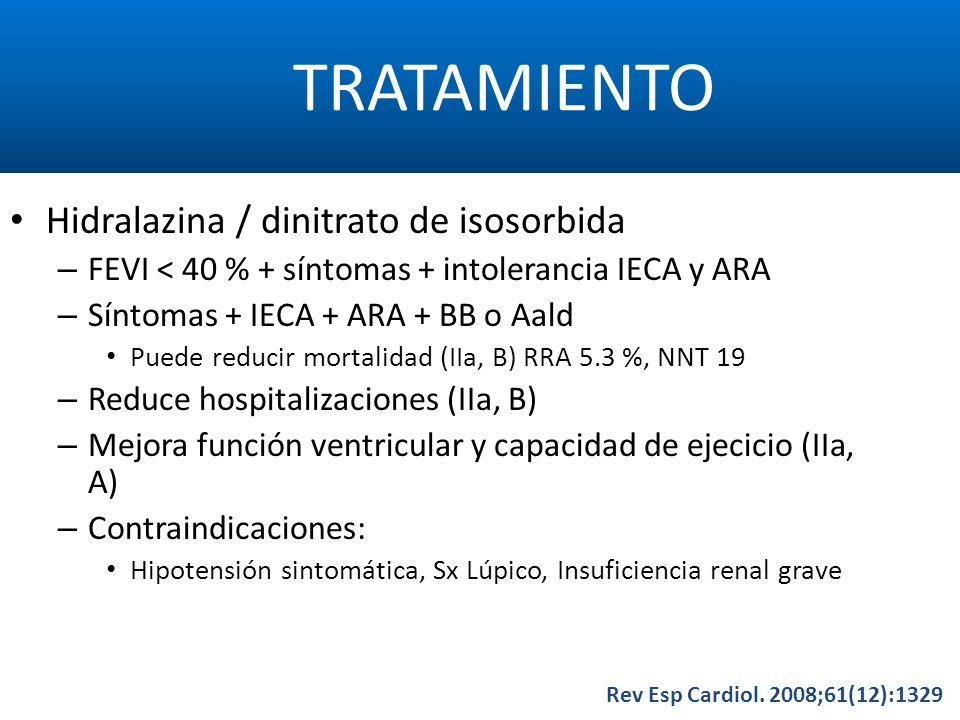 TRATAMIENTO Rev Esp Cardiol. 2008;61(12):1329 Hidralazina / dinitrato de isosorbida – FEVI < 40 % + síntomas + intolerancia IECA y ARA – Síntomas + IE