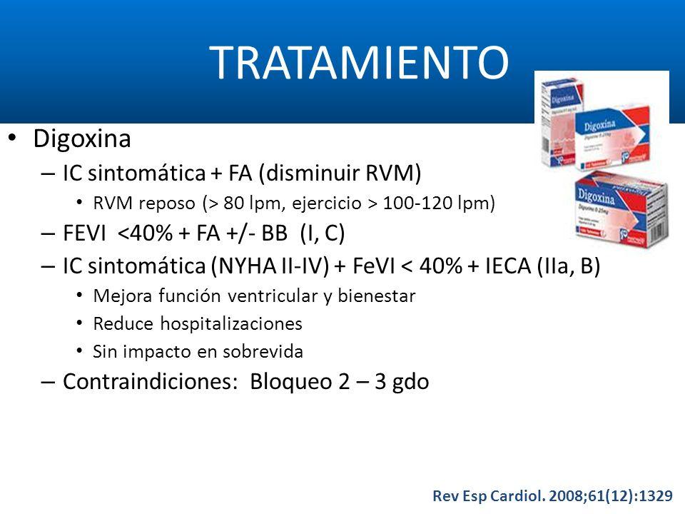 TRATAMIENTO Rev Esp Cardiol. 2008;61(12):1329 Digoxina – IC sintomática + FA (disminuir RVM) RVM reposo (> 80 lpm, ejercicio > 100-120 lpm) – FEVI <40
