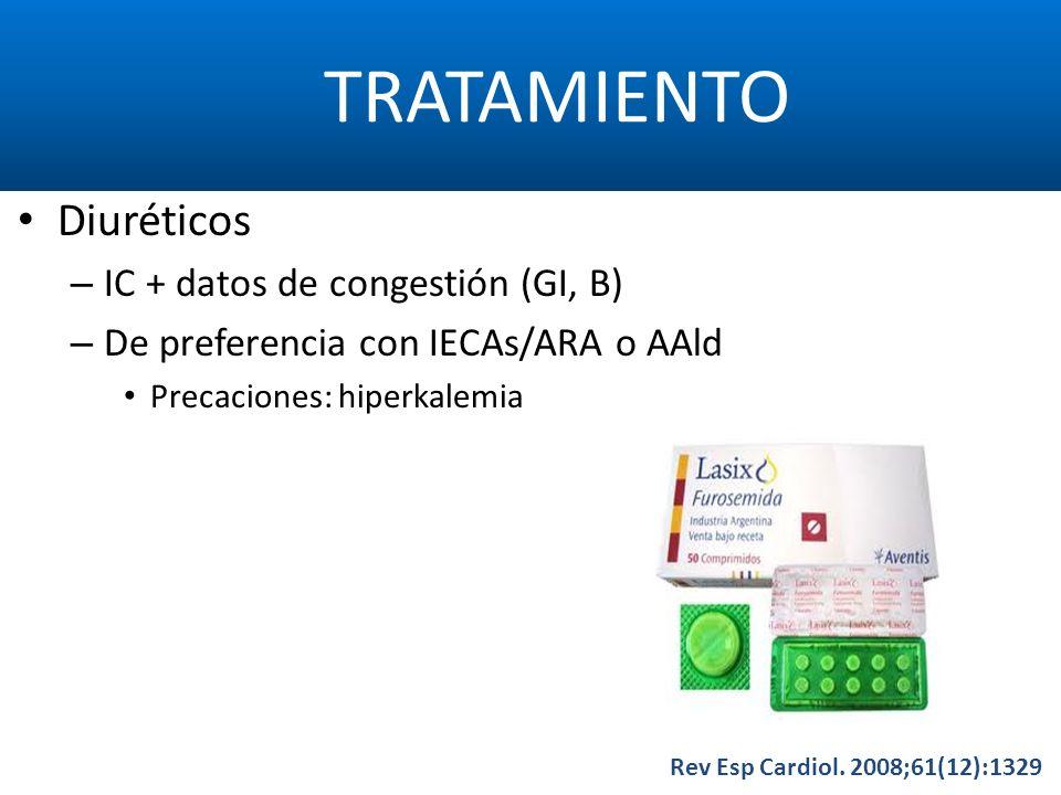 TRATAMIENTO Rev Esp Cardiol. 2008;61(12):1329 Diuréticos – IC + datos de congestión (GI, B) – De preferencia con IECAs/ARA o AAld Precaciones: hiperka