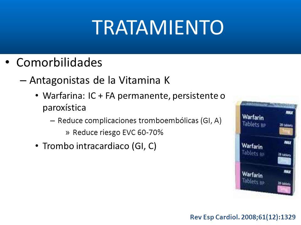 TRATAMIENTO Rev Esp Cardiol. 2008;61(12):1329 Comorbilidades – Antagonistas de la Vitamina K Warfarina: IC + FA permanente, persistente o paroxística