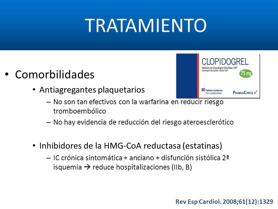 TRATAMIENTO Rev Esp Cardiol. 2008;61(12):1329 Comorbilidades Antiagregantes plaquetarios – No son tan efectivos con la warfarina en reducir riesgo tro