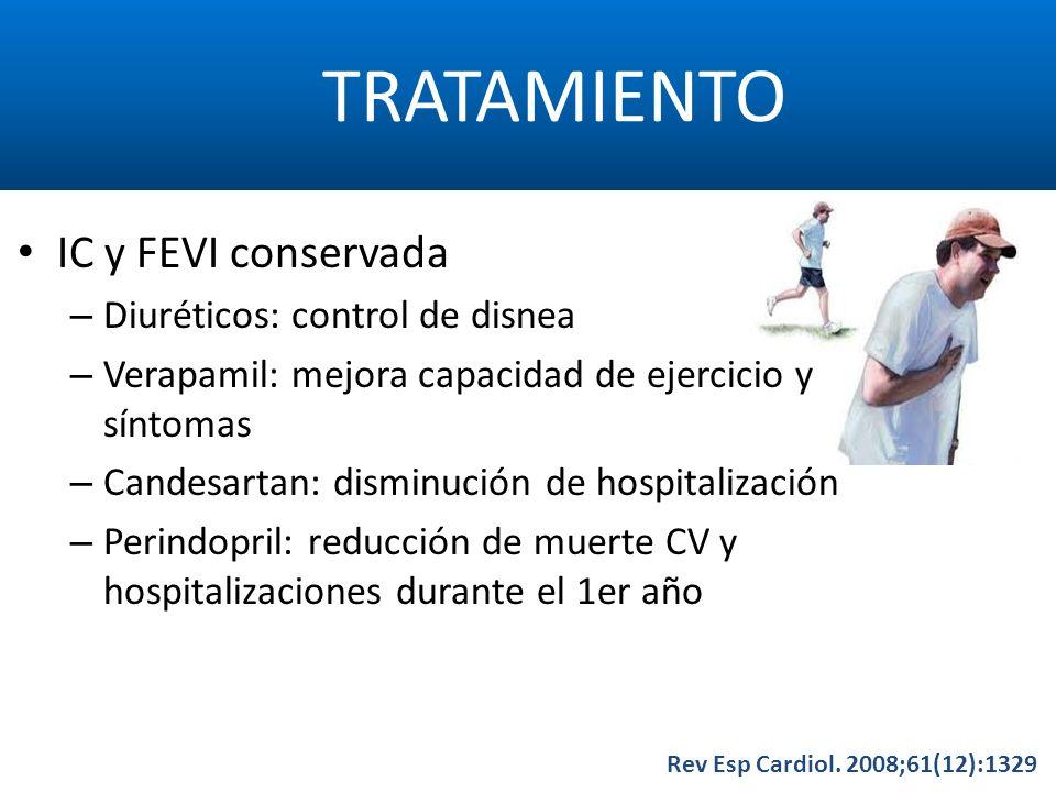 TRATAMIENTO Rev Esp Cardiol. 2008;61(12):1329 IC y FEVI conservada – Diuréticos: control de disnea – Verapamil: mejora capacidad de ejercicio y síntom