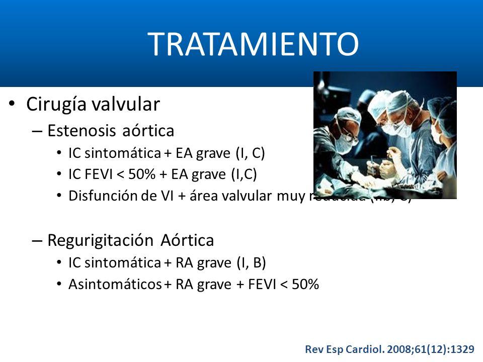 TRATAMIENTO Rev Esp Cardiol. 2008;61(12):1329 Cirugía valvular – Estenosis aórtica IC sintomática + EA grave (I, C) IC FEVI < 50% + EA grave (I,C) Dis