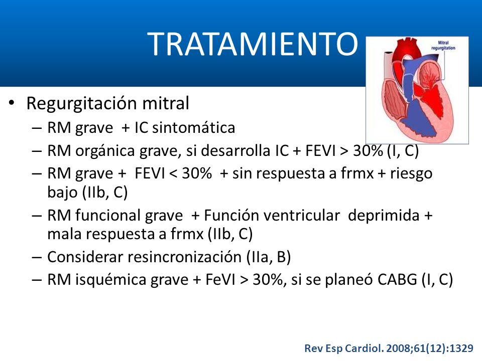 TRATAMIENTO Rev Esp Cardiol. 2008;61(12):1329 Regurgitación mitral – RM grave + IC sintomática – RM orgánica grave, si desarrolla IC + FEVI > 30% (I,