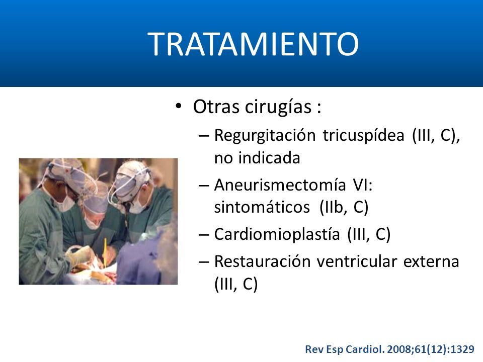 TRATAMIENTO Rev Esp Cardiol. 2008;61(12):1329 Otras cirugías : – Regurgitación tricuspídea (III, C), no indicada – Aneurismectomía VI: sintomáticos (I