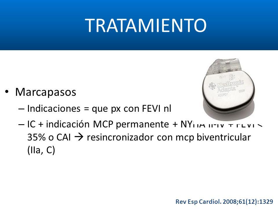 TRATAMIENTO Rev Esp Cardiol. 2008;61(12):1329 Marcapasos – Indicaciones = que px con FEVI nl – IC + indicación MCP permanente + NYHA II-IV + FEVI < 35