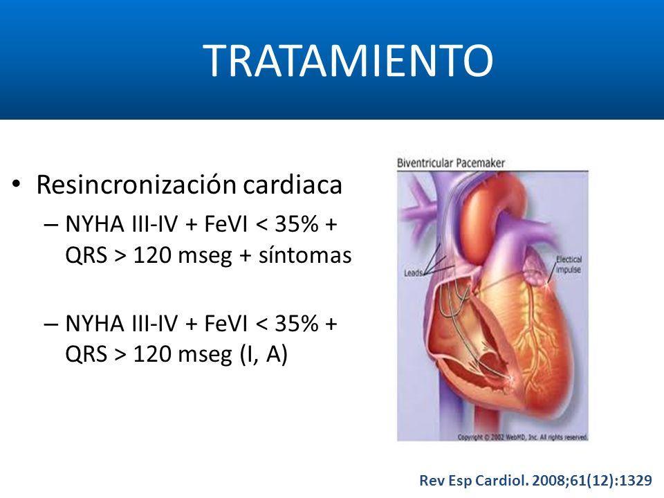 TRATAMIENTO Rev Esp Cardiol. 2008;61(12):1329 Resincronización cardiaca – NYHA III-IV + FeVI 120 mseg + síntomas – NYHA III-IV + FeVI 120 mseg (I, A)