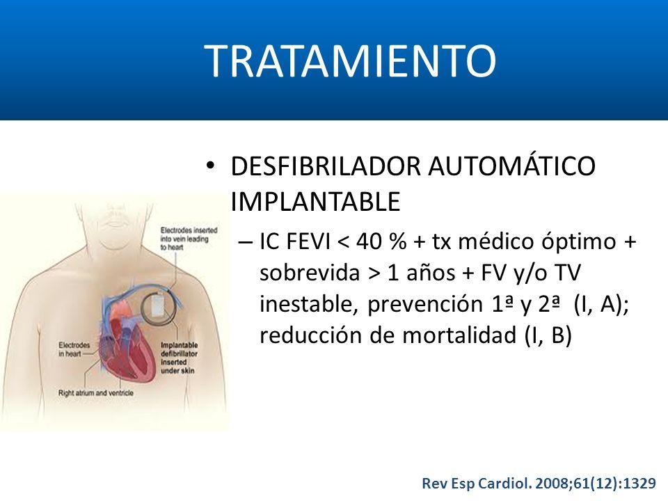 TRATAMIENTO Rev Esp Cardiol. 2008;61(12):1329 DESFIBRILADOR AUTOMÁTICO IMPLANTABLE – IC FEVI 1 años + FV y/o TV inestable, prevención 1ª y 2ª (I, A);