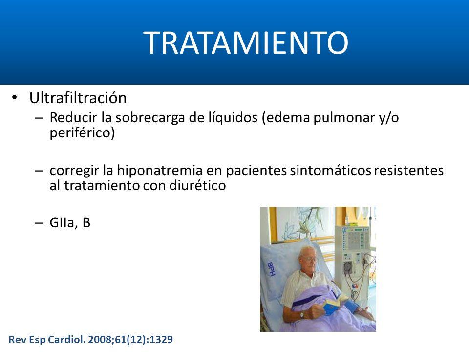 TRATAMIENTO Rev Esp Cardiol. 2008;61(12):1329 Ultrafiltración – Reducir la sobrecarga de líquidos (edema pulmonar y/o periférico) – corregir la hipona