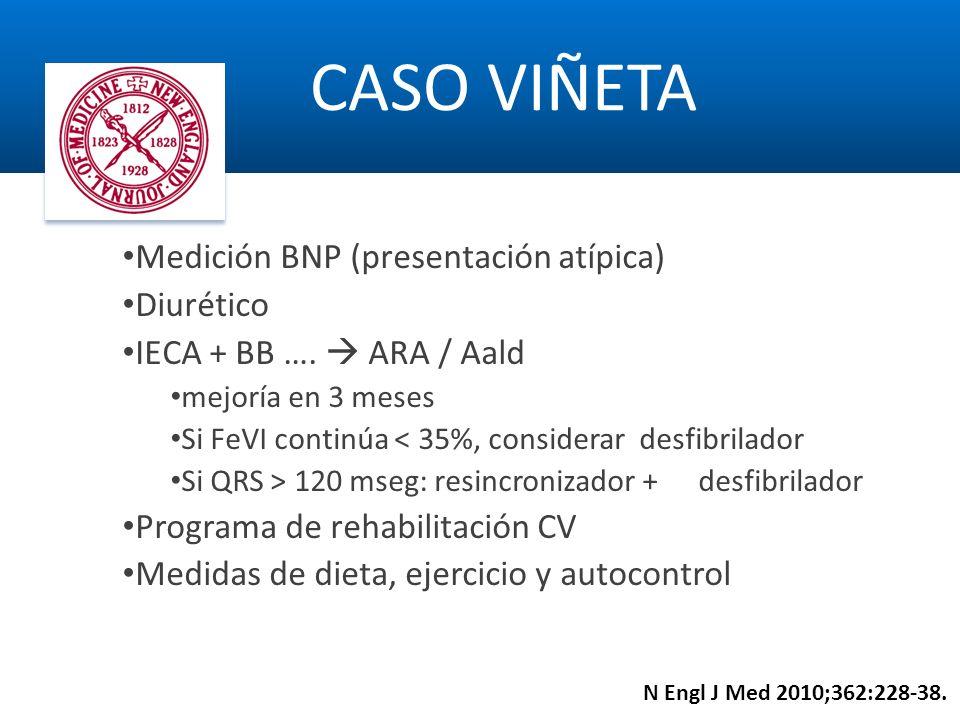 Medición BNP (presentación atípica) Diurético IECA + BB …. ARA / Aald mejoría en 3 meses Si FeVI continúa < 35%, considerar desfibrilador Si QRS > 120