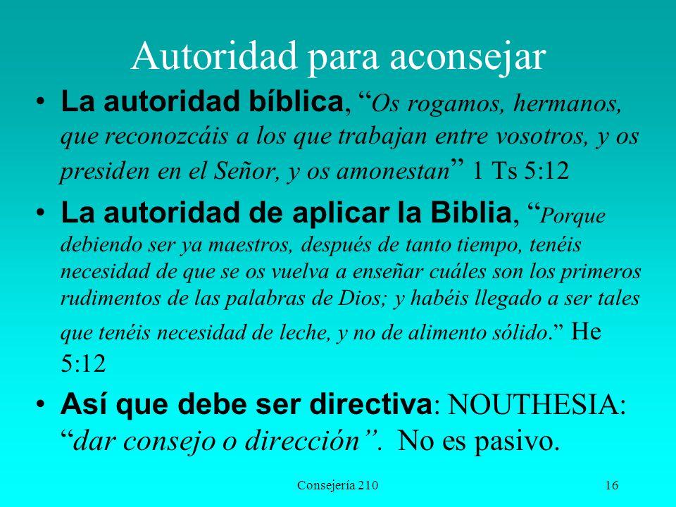 Consejería 21016 Autoridad para aconsejar La autoridad bíblica, Os rogamos, hermanos, que reconozcáis a los que trabajan entre vosotros, y os presiden