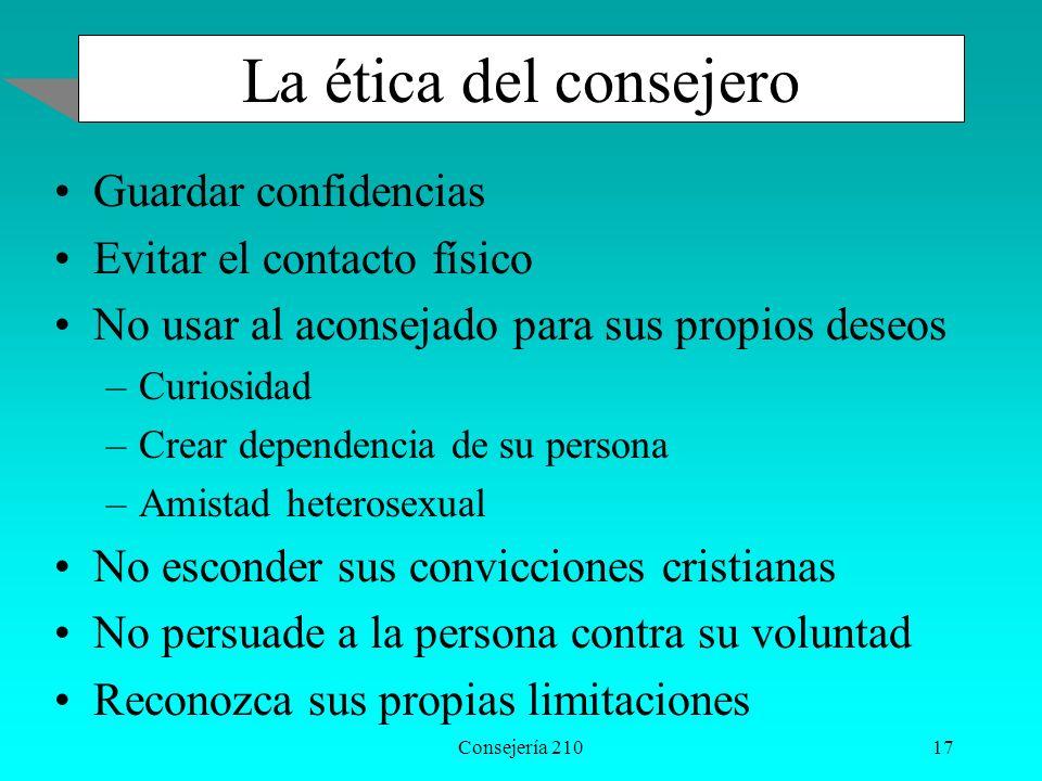 Consejería 21017 La ética del consejero Guardar confidencias Evitar el contacto físico No usar al aconsejado para sus propios deseos –Curiosidad –Crea