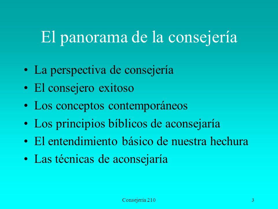 Consejería 2103 El panorama de la consejería La perspectiva de consejería El consejero exitoso Los conceptos contemporáneos Los principios bíblicos de
