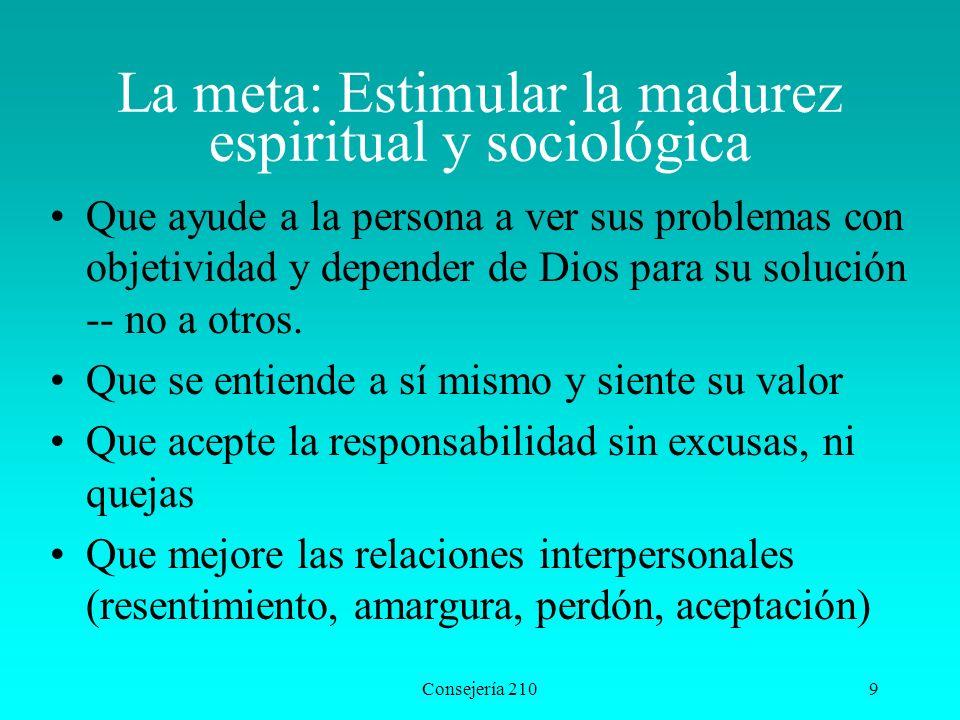 Consejería 2109 La meta: Estimular la madurez espiritual y sociológica Que ayude a la persona a ver sus problemas con objetividad y depender de Dios p