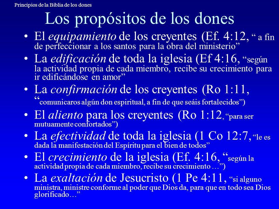 Principios de la Biblia de los dones Los propósitos de los dones El equipamiento de los creyentes (Ef. 4:12, a fin de perfeccionar a los santos para l