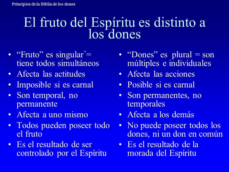 Principios de la Biblia de los dones El fruto del Espíritu es distinto a los dones Fruto es singular´= tiene todos simultáneos Afecta las actitudes Im