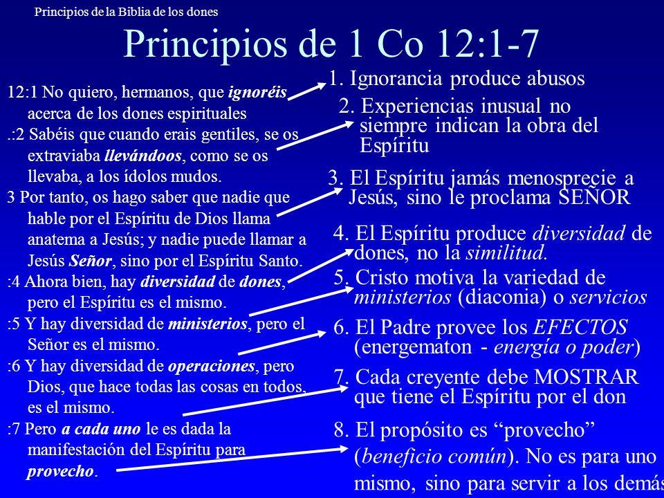 Principios de la Biblia de los dones Principios de 1 Co 12:1-7 12:1 No quiero, hermanos, que ignoréis acerca de los dones espirituales.:2 Sabéis que c