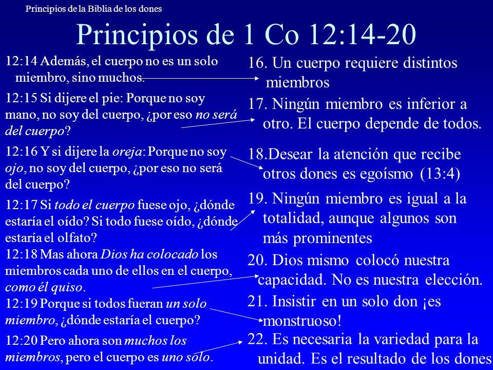 Principios de la Biblia de los dones Principios de 1 Co 12:14-20 12:14 Además, el cuerpo no es un solo miembro, sino muchos. 16. Un cuerpo requiere di
