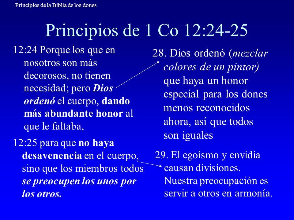 Principios de la Biblia de los dones Principios de 1 Co 12:24-25 12:24 Porque los que en nosotros son más decorosos, no tienen necesidad; pero Dios or