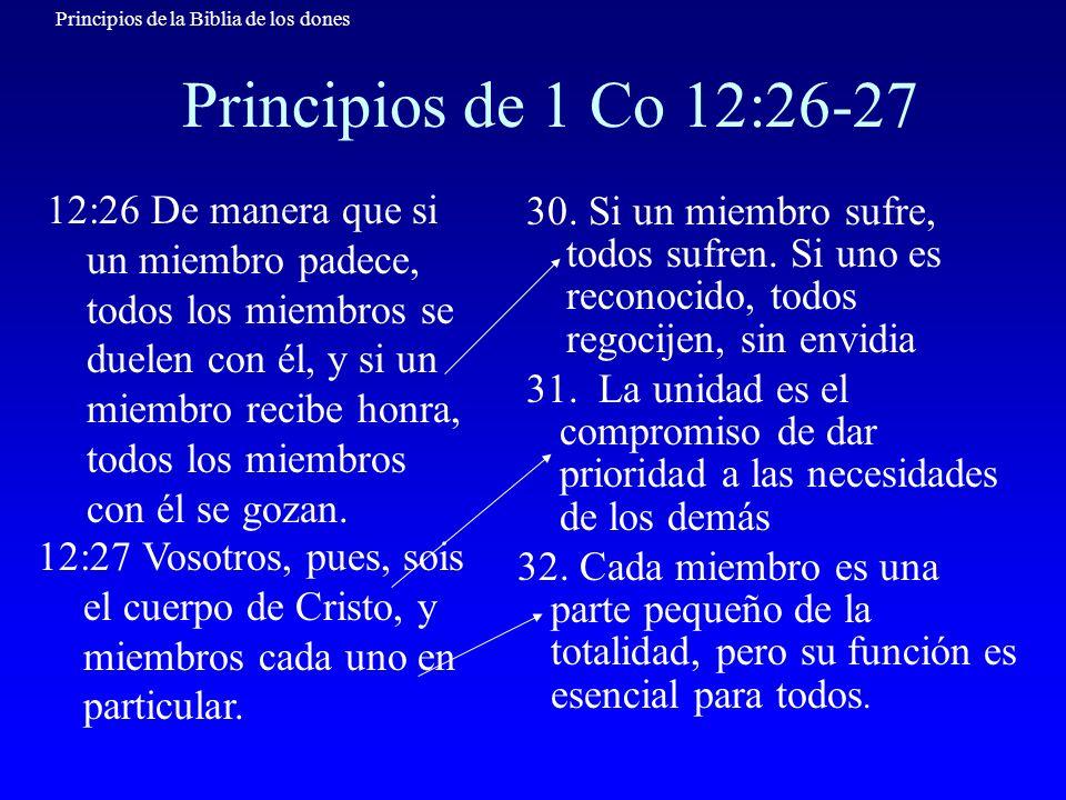 Principios de la Biblia de los dones Principios de 1 Co 12:26-27 12:26 De manera que si un miembro padece, todos los miembros se duelen con él, y si u