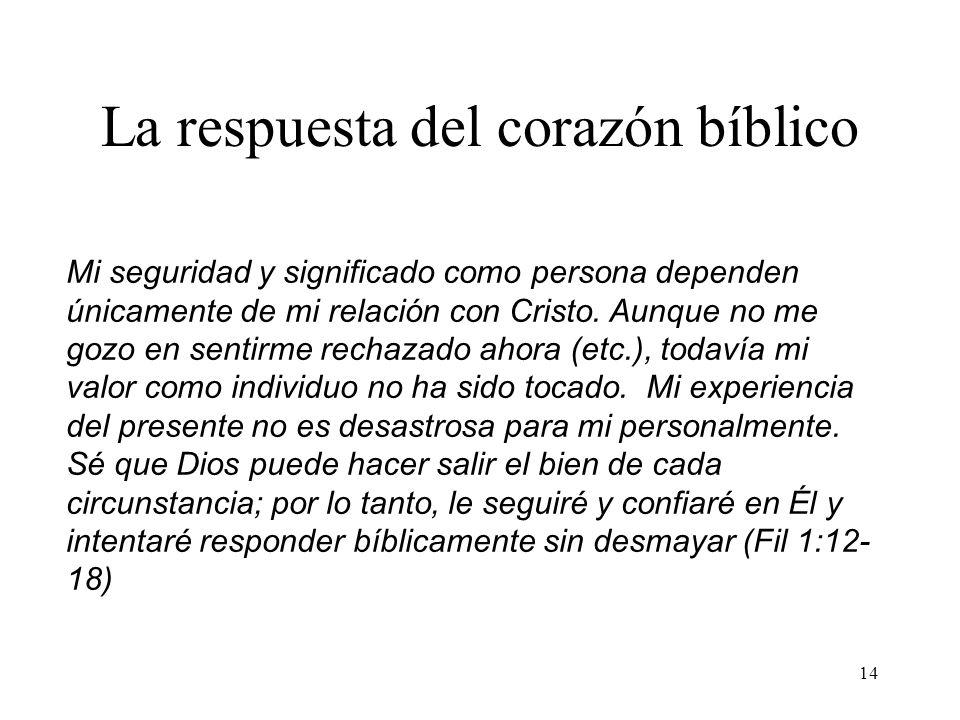 14 La respuesta del corazón bíblico Mi seguridad y significado como persona dependen únicamente de mi relación con Cristo. Aunque no me gozo en sentir