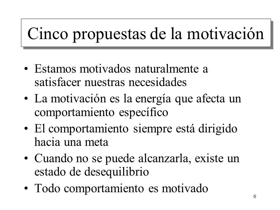 6 Cinco propuestas de la motivación Estamos motivados naturalmente a satisfacer nuestras necesidades La motivación es la energía que afecta un comport