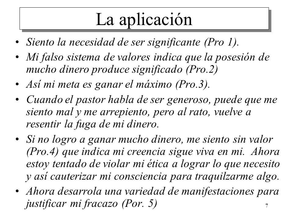 7 La aplicación Siento la necesidad de ser significante (Pro 1). Mi falso sistema de valores indica que la posesión de mucho dinero produce significad